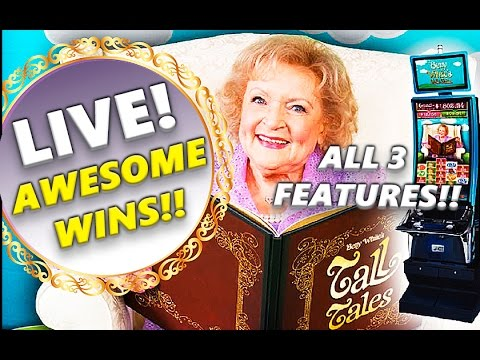 BETTY WHITE'S TALL TALES - AWESOME WINS!! - ALL 3 FEATURES+2 PROGRESSIVES! - Slot Machine Bonus - 동영상