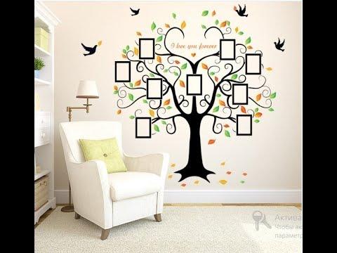 Интерьерная наклейка на стену  Дерево с фоторамками