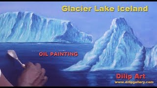 how to paint Iceberg   glacier lake Iceland   oil painting tutorial