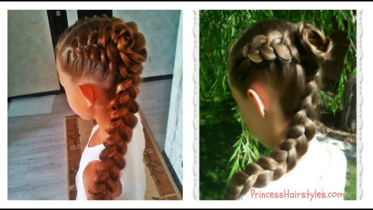 Dutch Braid Rose Hairstyle Flower Girl Or Bridesmaid