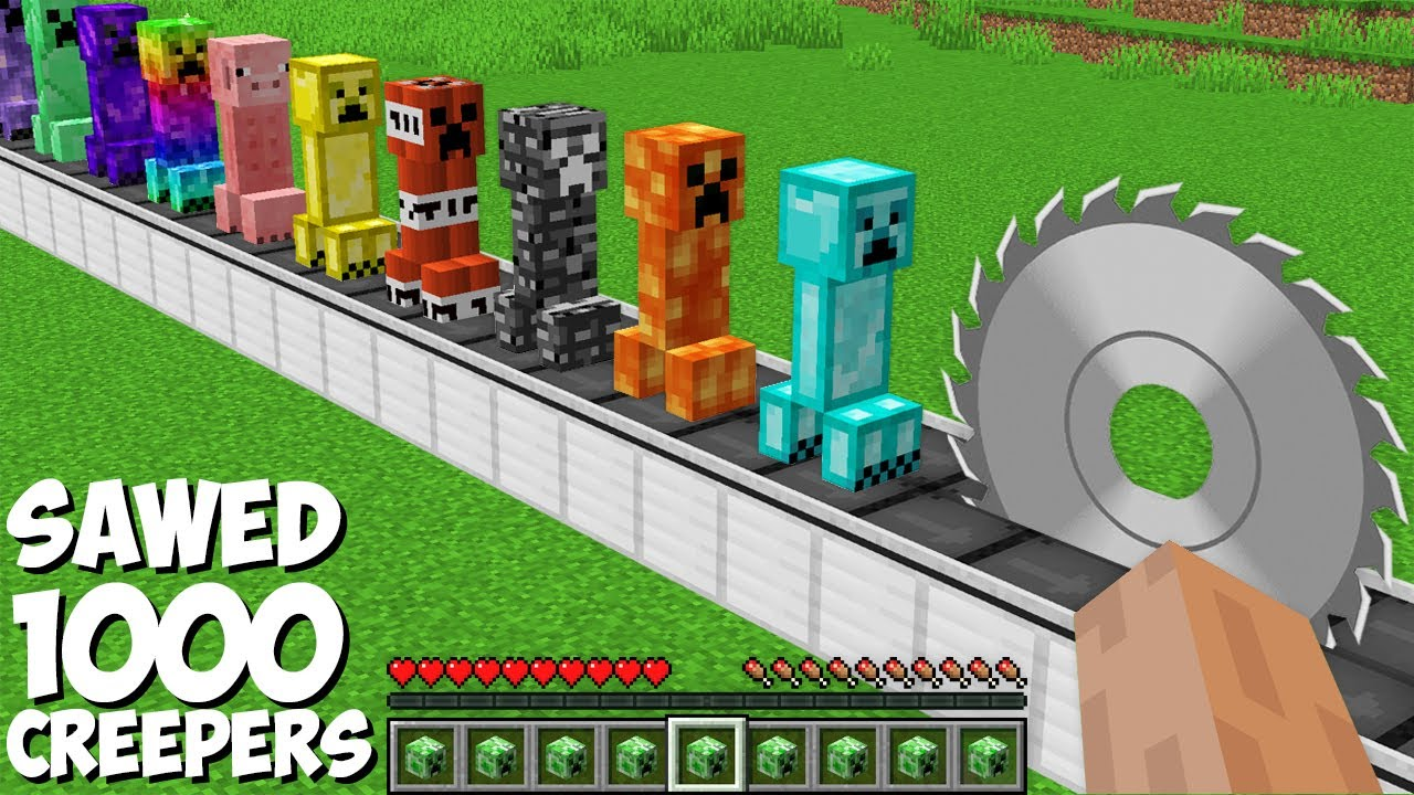 You can SAWED ALL CREEPERS in Minecraft ! SUPER TRAP FOR 1000 CREEPERS !