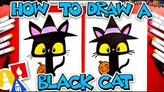 How To Draw A Black Cat With A Witch Hat