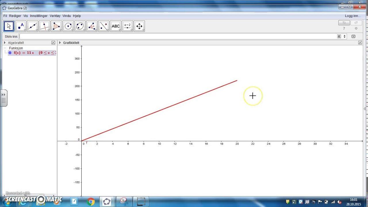 Geogebra eksempeloppgave  - del 1, besvaring av oppgave med defininsjonsområde
