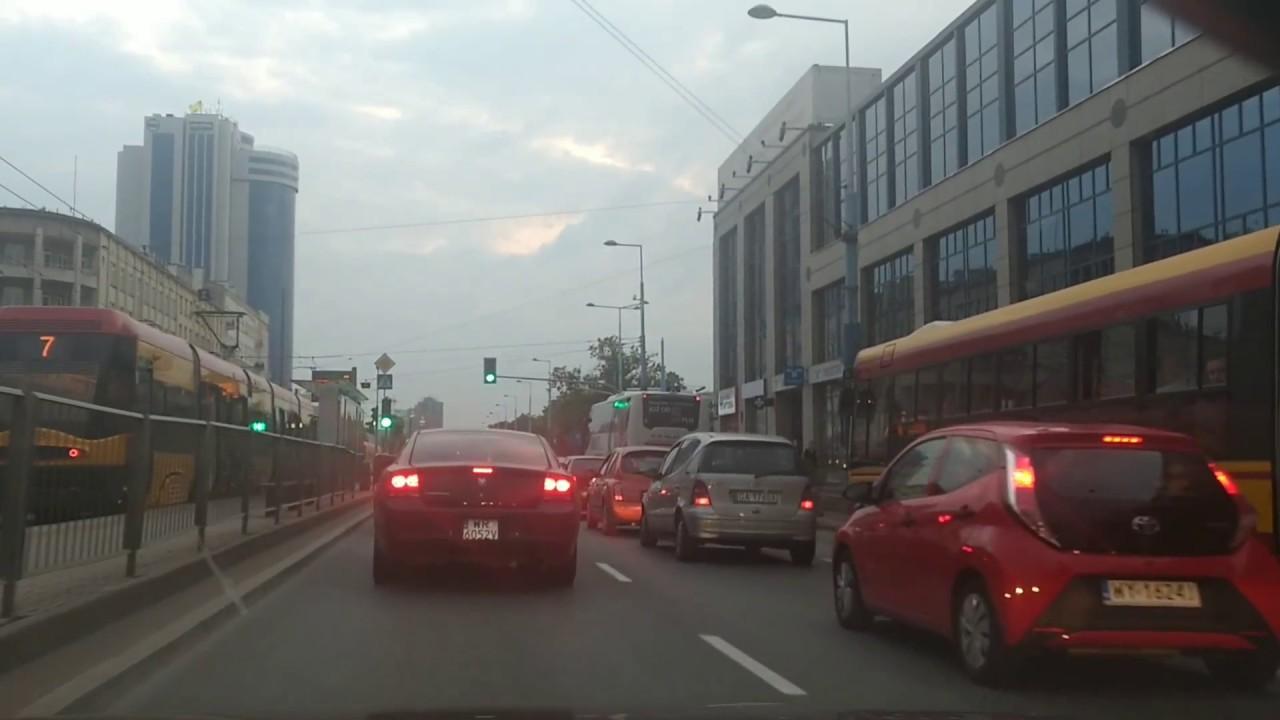 Driving through Warsaw -  Praga district (borough) & Downtown (city centre)