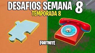 FORTNITE - COMO RESOLVER OS DESAFIOS DA SEMANA 8 DA TEMPORADA 8!