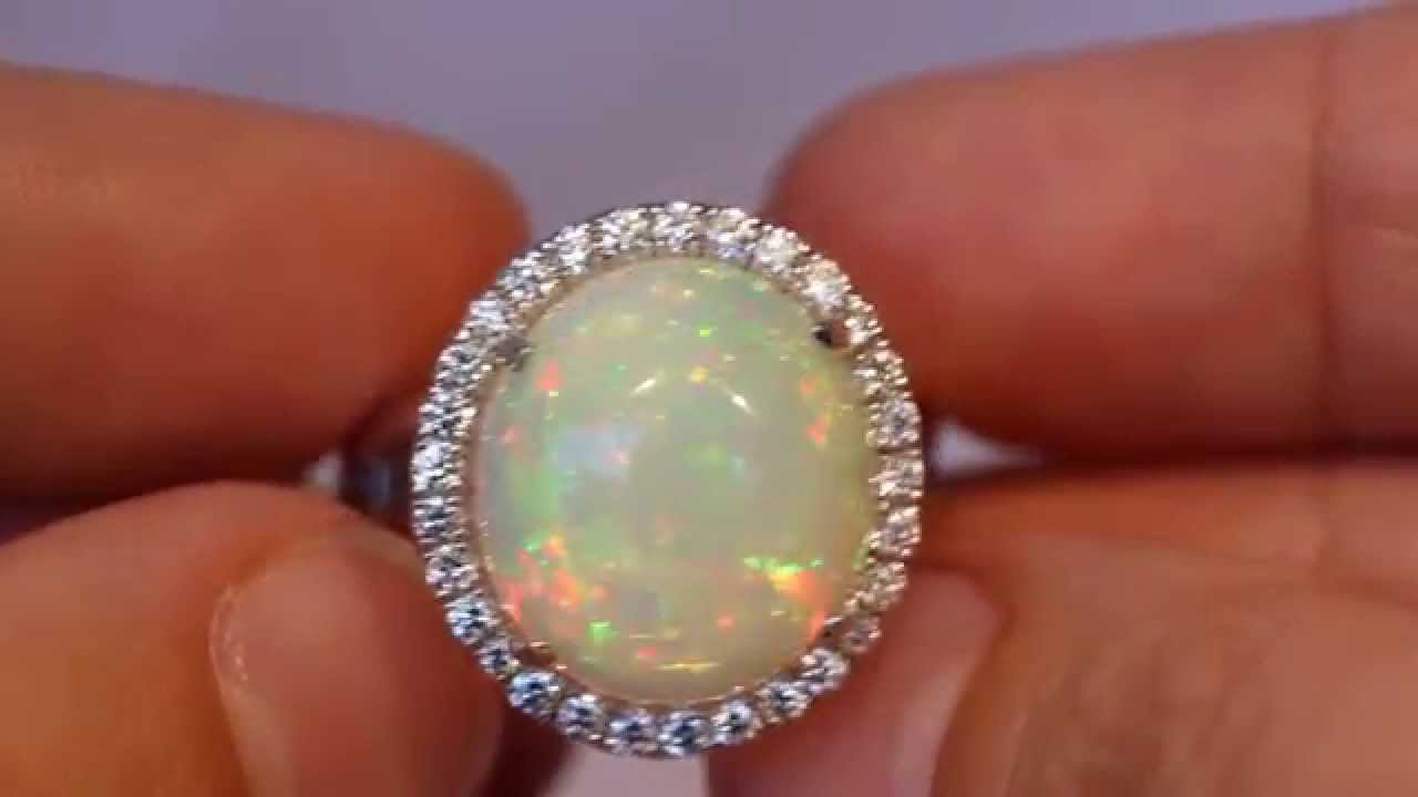 Ethiopian Opal White Gold Ring Diamonds Gemstone Jewelry #1250 .