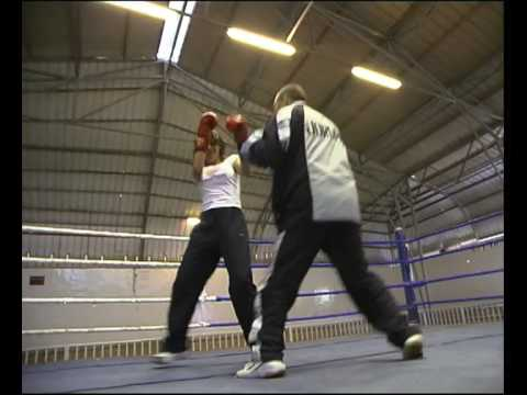 Jordanian female boxers fight for Middle East women.Archive film from 2004