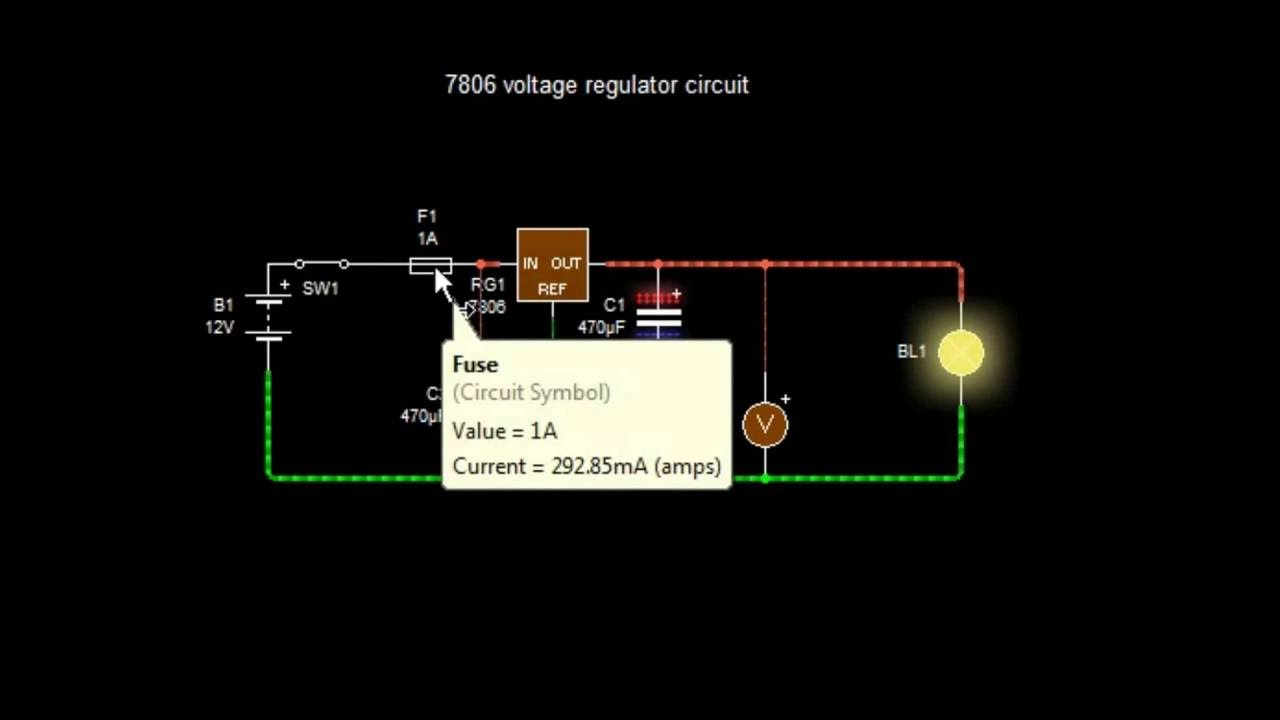 how to make a 12 volt to 6 volt dc regulator using a 7806 [ 1280 x 720 Pixel ]
