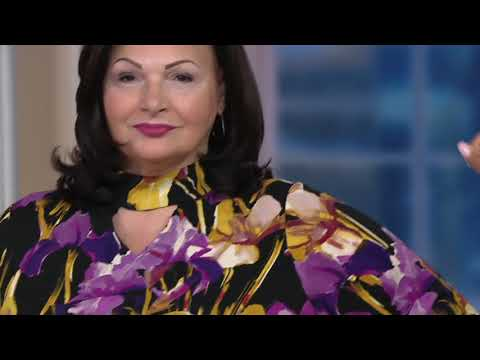 Dennis Basso Printed Caviar Crepe Mock Neck Top with Keyhole on QVC