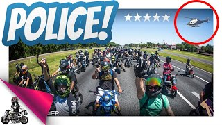 Police Helicopter vs 100+ Honda Groms!
