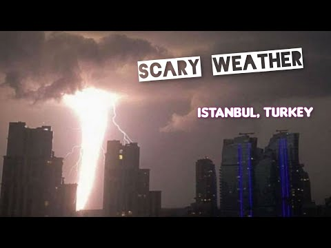 Crazy Night in Istanbul! Bizarre lights, Hail, Thunderstorm, Lightning, Storm and Chaos