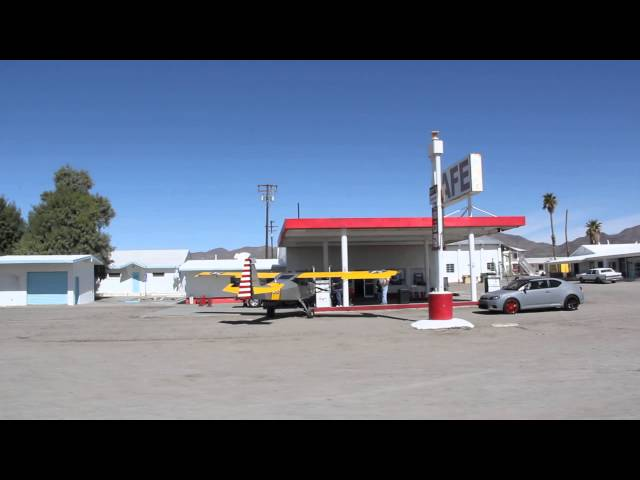 Plane getting gas at the Amboy gas station