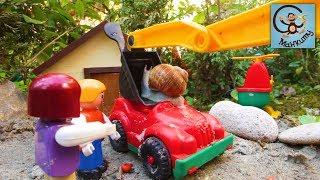 Мультик про машинки. Погрузчик, самосвал, экскаватор и  большие улитки. Город Белого Кролика #2