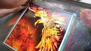 Spray paint Art by Brent Willis 'PHOENIX FEATHER X'
