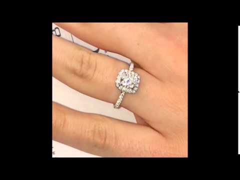 1 Carat Cushion Cut Diamond Halo Engagement Ring