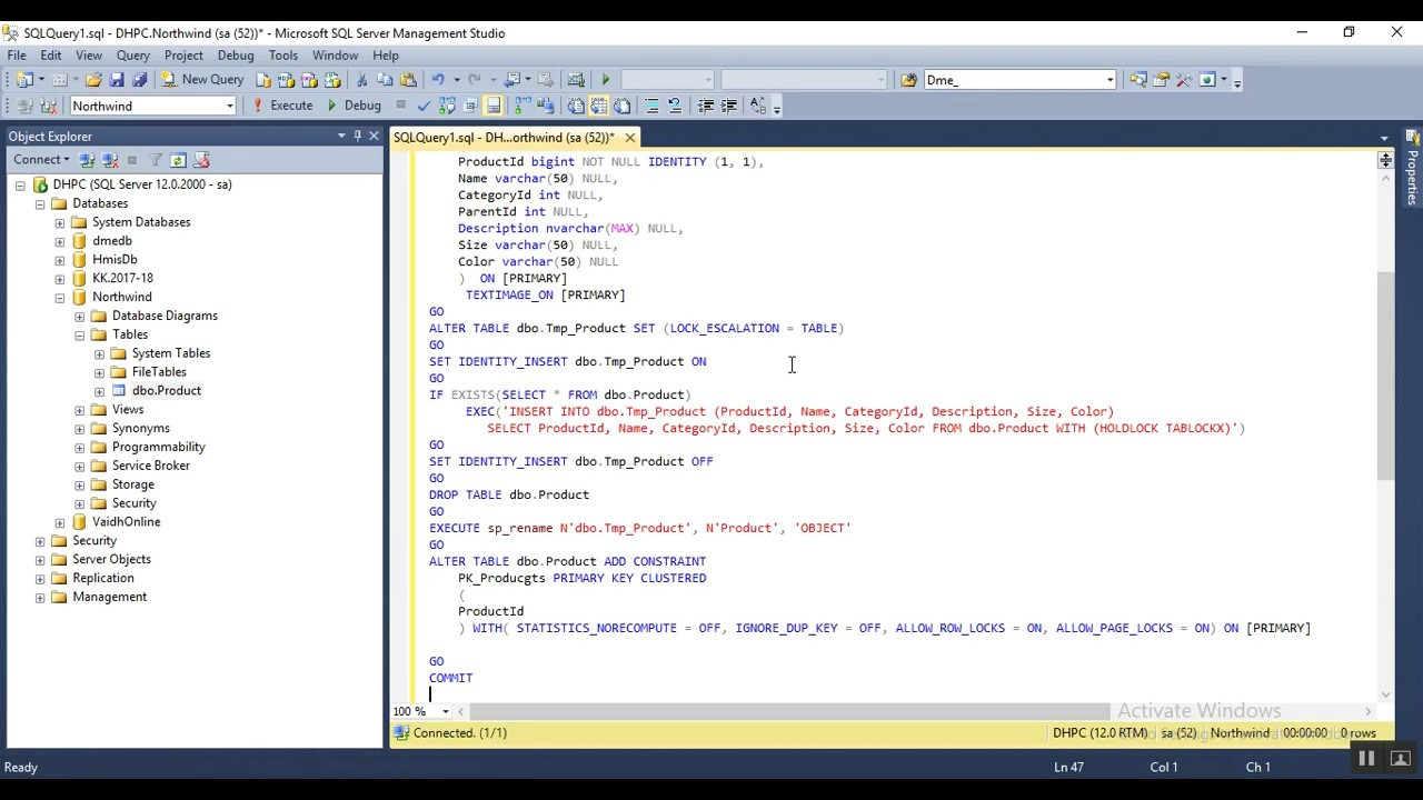 How to Generate Alter Script of Table Design Mode - Sql Server