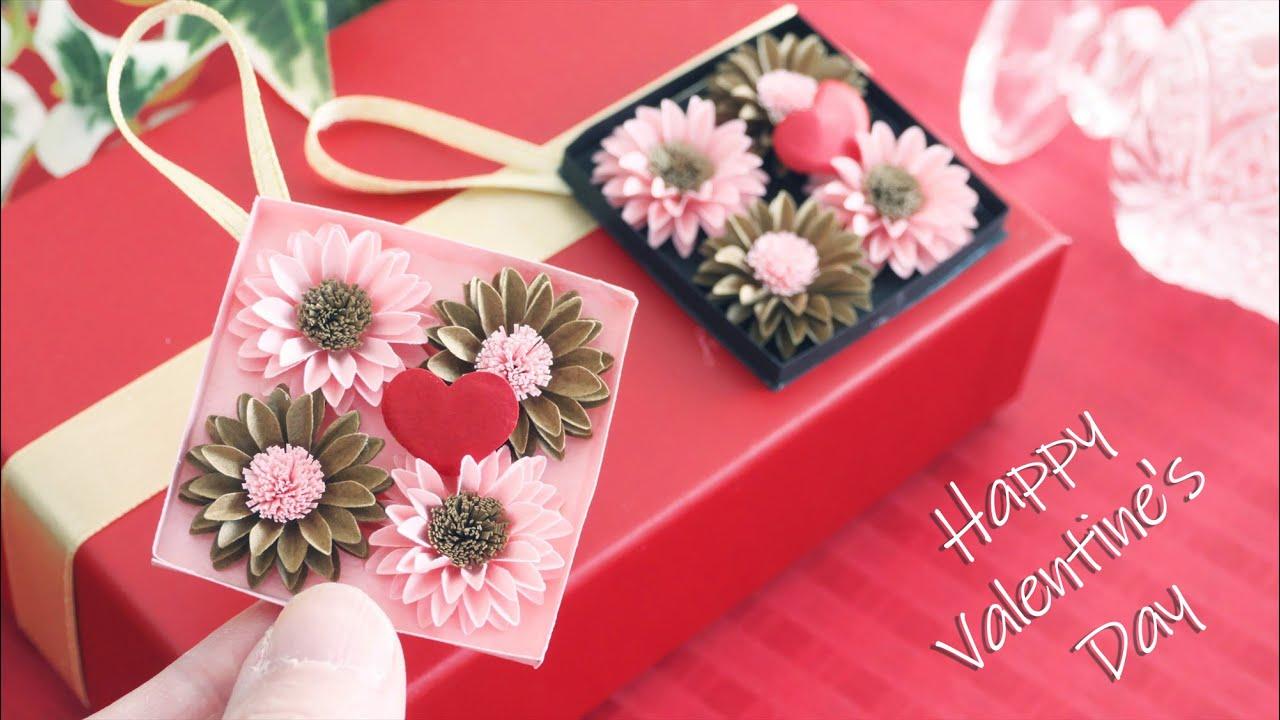 小花の立体的なギフトタグ【バレンタインデー】 - DIY How to Make 3D Gift Tag With Small Flowers  | Valentine's Day