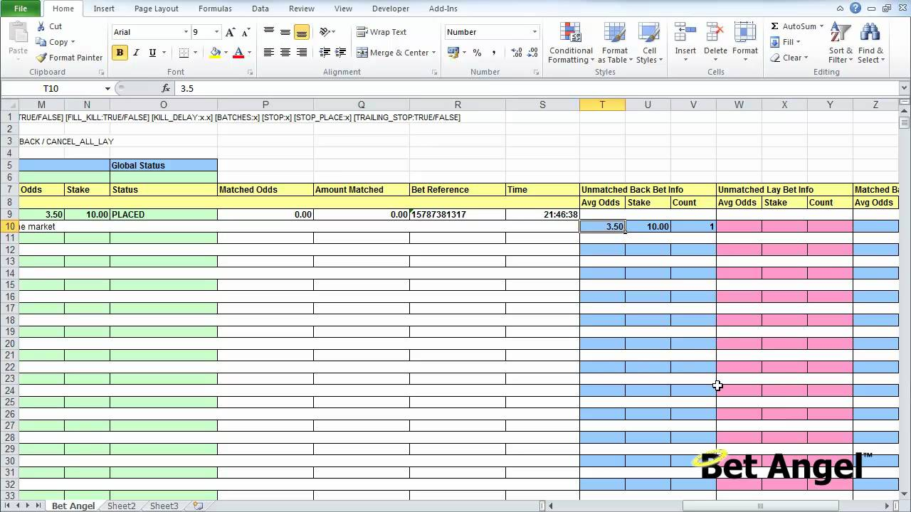 Bet Angel - Using spreadsheets - Understanding the template - YouTube