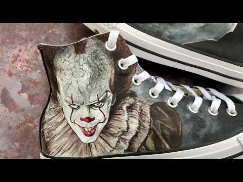 Painting Pennywise The Clown IT | Custom Painted Horror Converse | How To Paint Custom Sneakers