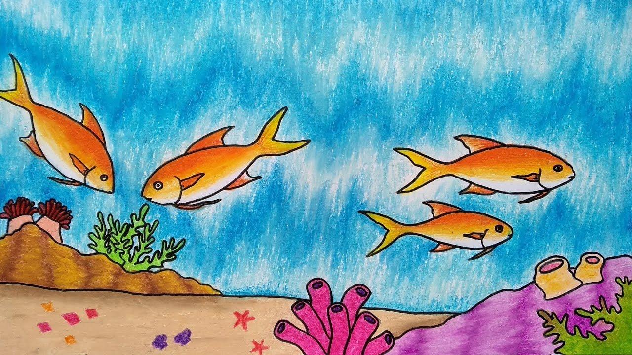 Cara Menggambar Ikan Yang Mudah Menggambar Pemandangan Bawah Laut Youtube