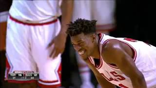 Jimmy Butler singing during OT timeout