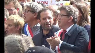 Video Benoît Hamon et Jean Luc Mélenchon @ Paris le 23 septembre 2017 Manifestation anti Loi Travail download MP3, 3GP, MP4, WEBM, AVI, FLV Oktober 2017