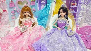 Princess Barbie Sisters Castle Bedroom Morning Dress up boneca Vestir