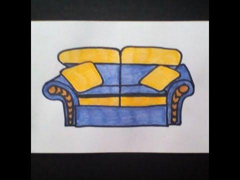 Как легко нарисовать диван