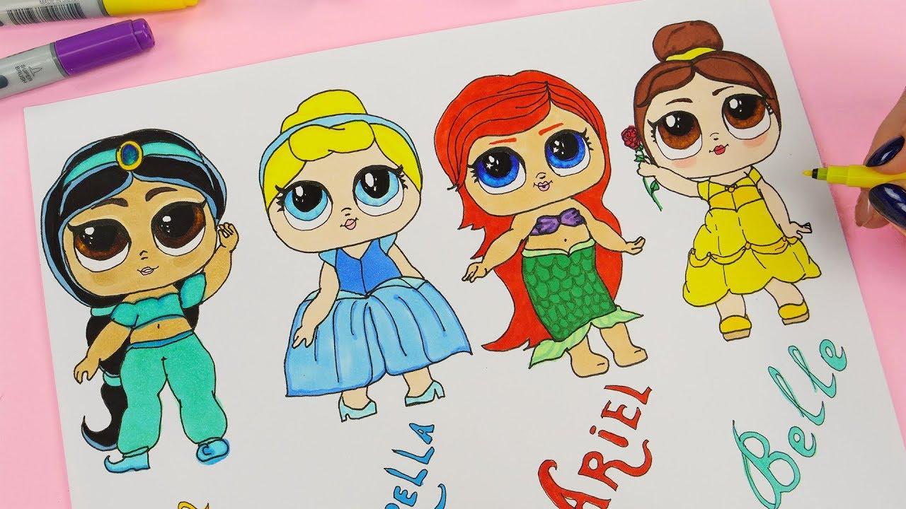 Disney Princess Lol Doll Drawing Step By Step How To Draw Disney