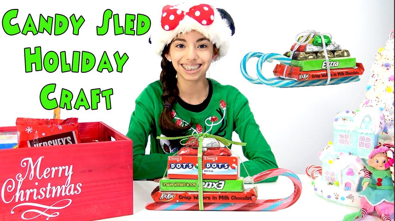 holiday christmas candy cane sleigh craft kid crafts kidtoytesters youtube - Christmas Candy Sleigh