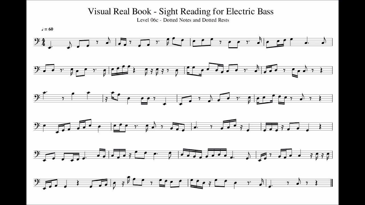 Sight Reading for Bass, Level 06c (Dotted Notes, Dotted Rests), Exercise 01