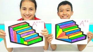 KuMin Kids Go To School Learn Coloring Rainbow Stairs | Classroom Funny Nursery Rhymes