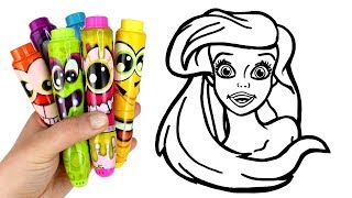 Disney Princess Surprise How to Draw Ariel | Drawing and Glitter Painting Creative for Kids