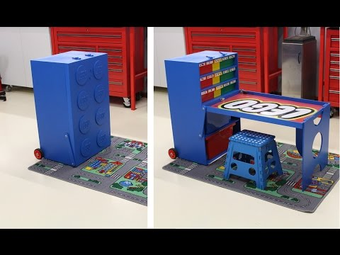 Father Designs/Builds Transforming Lego Storage Unit & Workstation for His Son