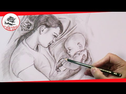 mother's-love:-drawing-emotions-with-pencil,-step-by-step,-easy-drawing-techniques
