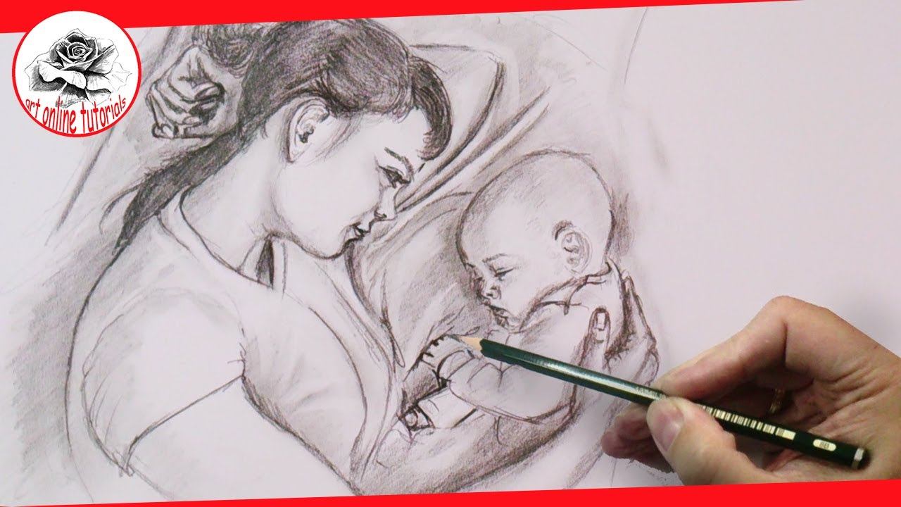 mothers love drawing emotions with pencil step by step
