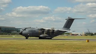 Airbus A400M Atlas takeoff at Farnborough Airshow 2014 F-WWMZ
