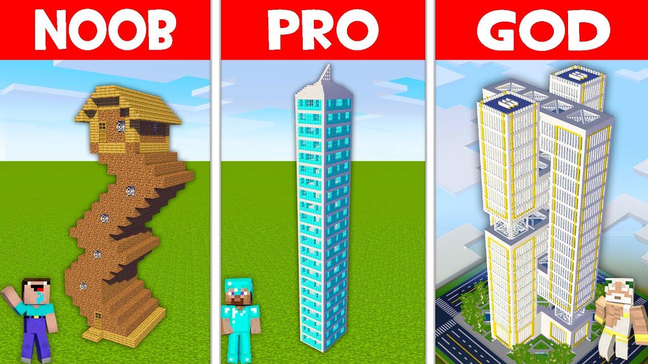 Minecraft NOOB vs PRO vs GOD: SKYSCRAPER HOUSE BUILD CHALLENGE! NOOB FOUND SKYSCRAPER! (Animation)