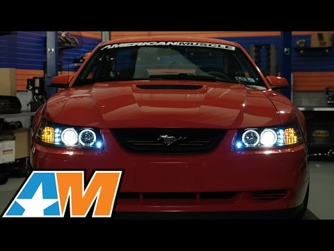 1999 2004 mustang black projector headlights dual led halo review install youtube 1999 2004 mustang black projector