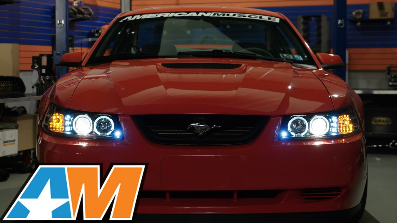 1999 2004 mustang black projector headlights dual led halo review install youtube 1999 2004 mustang black projector headlights dual led halo review install