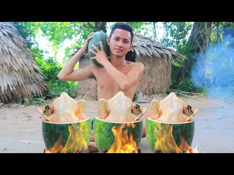 Primitive Technology: Cooking Chicken in Watermelon in the Forest | Wilderness Food