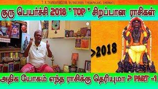 """குரு பெயர்ச்சி யோகம் """" TOP """"சிறப்பான  ராசிகள் ? Guru peyarchi 2018 Astrology in Tamil"""