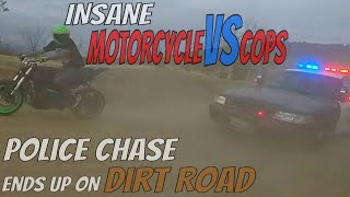 Motorcycle VS Police Chase Bikers End Up On DIRT ROAD Running From HIGHWAY PATROL Cops Chasing 2017