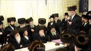 Belz Rebbe Attending Sheva Brochos Of Machnovka Rebbe's Grandson - Adar 5776