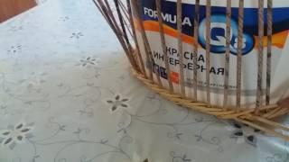 Газетное плетение. Корзиночки, сплетенная ситцевым плетением  и веревочка из четырех трубочек