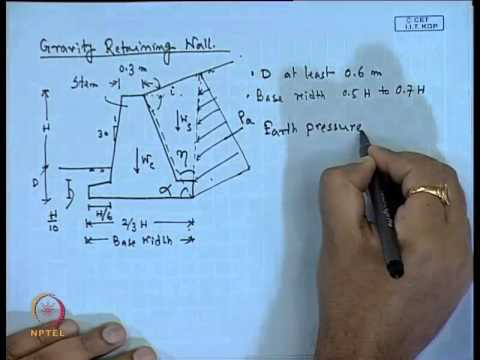 Mod 01 Lec 23 Design Of Retaining Wall Youtube