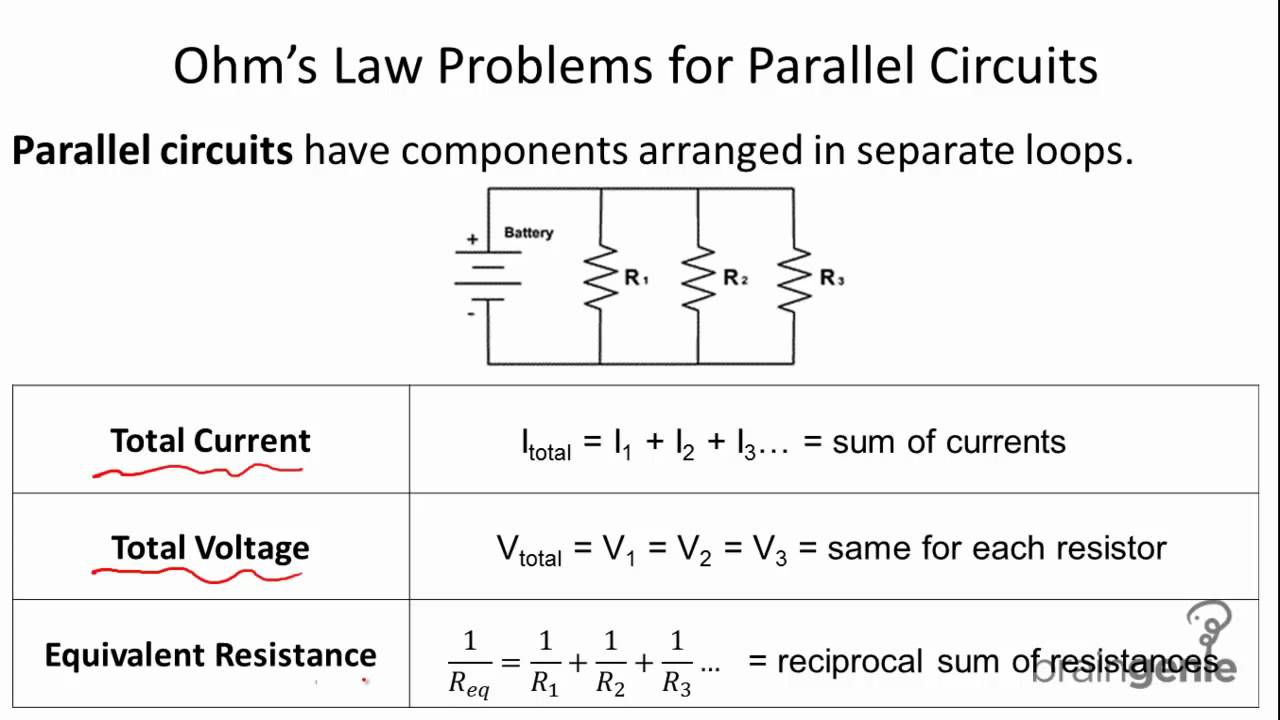 Physics 6.2.5 Ohm's Law Problems for Parallel Circuits. - YouTube