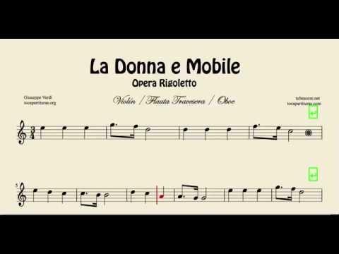 La Donna e Mobile Sheet Music for Violin Flute Recorder and Oboe Opera Rigoletto