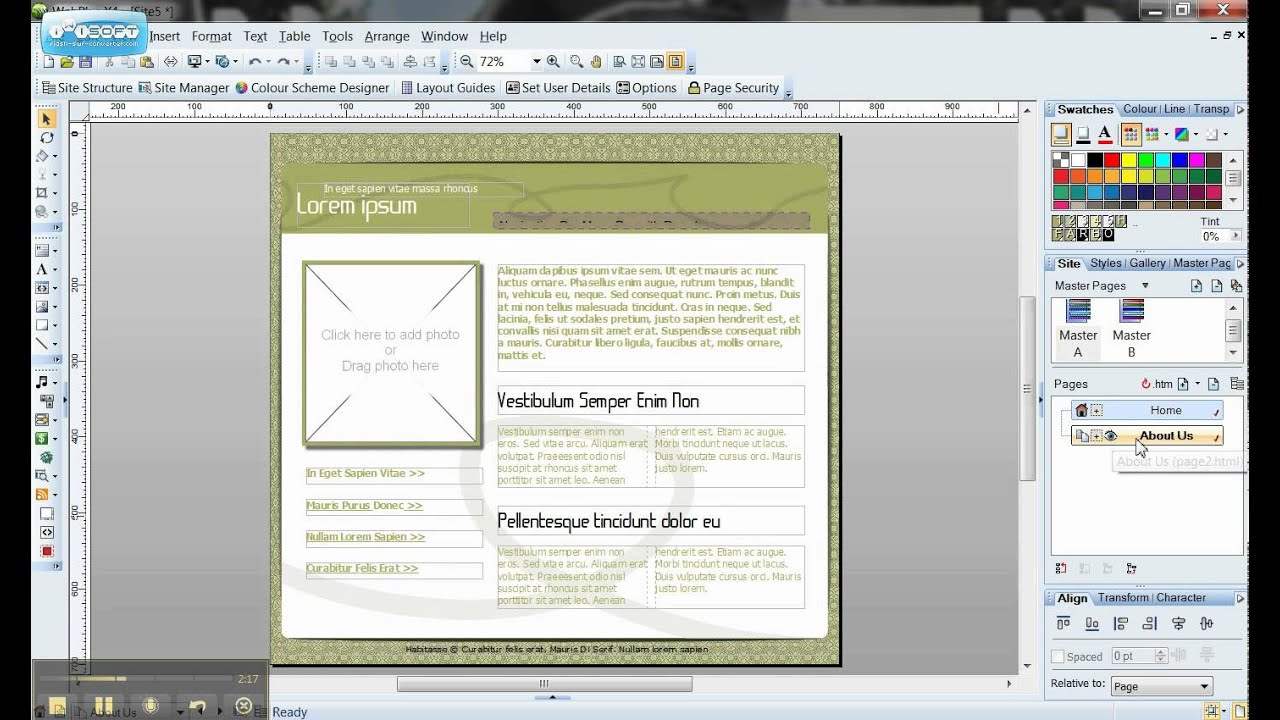 Serif WebPlus Master Template Tutorial - YouTube