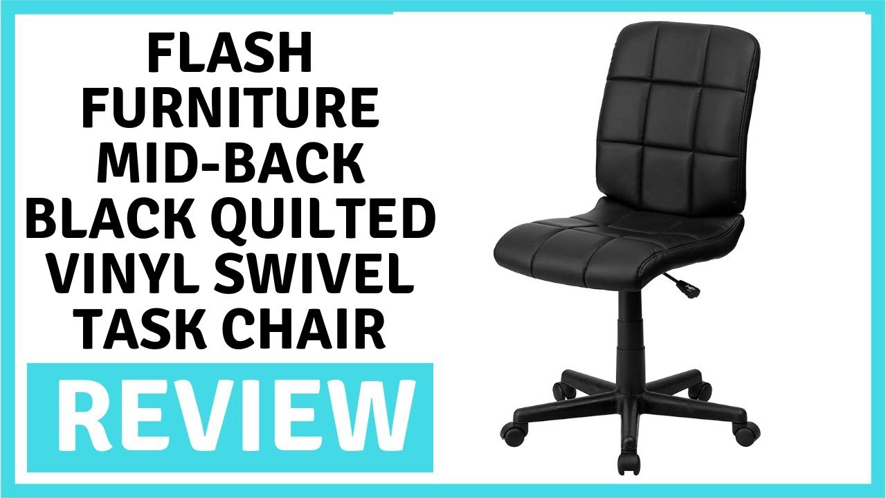 Quilted Swivel Chair Heywood Wakefield Chairs Flash Furniture Mid Back Black Vinyl Task Review